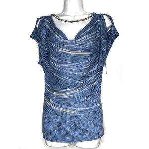Cache Blue Chmbray Cowl Neck Chain Top